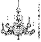 rich baroque chandelier. luxury ... | Shutterstock .eps vector #1083223412