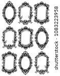 vintage mirror frames set.... | Shutterstock .eps vector #1083223958