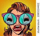 the girl sees a shark  yells... | Shutterstock .eps vector #1083224402