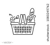 wicker picnic basket with... | Shutterstock .eps vector #1083245762