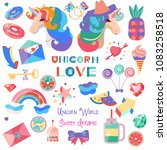 set with a unicorn and pictures ...   Shutterstock .eps vector #1083258518