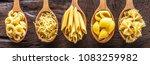 different pasta types in wooden ... | Shutterstock . vector #1083259982