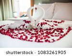 two swans made from towels are... | Shutterstock . vector #1083261905