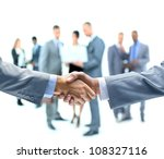 business handshake and business ... | Shutterstock . vector #108327116