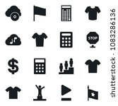 Small photo of Set of simple vector isolated icons t shirt vector, dollar sign, pedestal, calculator, flag, play button, cloud music, stop