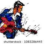 musician with a guitar. rock n... | Shutterstock .eps vector #1083286445