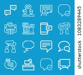 set of 16 chat outline icons...   Shutterstock . vector #1083289445