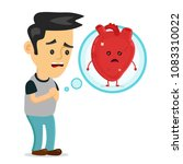 sad sick young man with heart... | Shutterstock .eps vector #1083310022