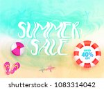 stylish text summer sale with... | Shutterstock .eps vector #1083314042