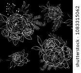 vintage peony vector pattern | Shutterstock .eps vector #1083315062