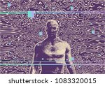 glitch party poster with man... | Shutterstock .eps vector #1083320015