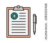 medical report color icon.... | Shutterstock . vector #1083332468