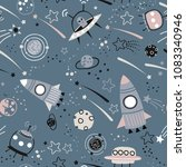 baby seamless pattern   space ... | Shutterstock .eps vector #1083340946