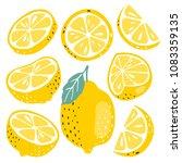 fresh lemon fruits collection | Shutterstock .eps vector #1083359135