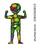 illustration of a kid strong... | Shutterstock .eps vector #1083360815