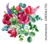 bouquet of flowers  watercolor... | Shutterstock . vector #1083361742