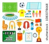 soccer icons set vector. soccer ... | Shutterstock .eps vector #1083378668
