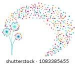 pink cyan blue vector dandelion ... | Shutterstock .eps vector #1083385655