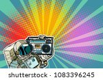 astronaut with boombox  audio... | Shutterstock .eps vector #1083396245