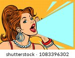 woman announcing discount. lady ... | Shutterstock .eps vector #1083396302