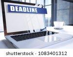 deadline text on modern laptop...   Shutterstock . vector #1083401312