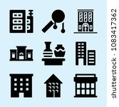 set of 9 buildings filled icons ... | Shutterstock .eps vector #1083417362