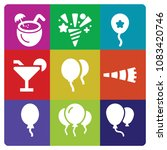 set of 9 party filled icons... | Shutterstock .eps vector #1083420746