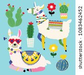 cute llamas and cacti. colored... | Shutterstock .eps vector #1083462452