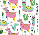 cute llamas and cacti. colored... | Shutterstock .eps vector #1083462458
