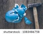 top view of shattered piggy... | Shutterstock . vector #1083486758