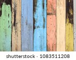 old grunge colorful wooden wall ... | Shutterstock . vector #1083511208