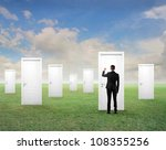 young businessman knocking at... | Shutterstock . vector #108355256