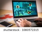laptop with street image and... | Shutterstock . vector #1083572315