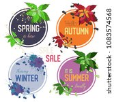 set of 4 seasons vector frames... | Shutterstock .eps vector #1083574568