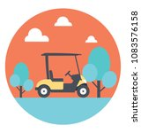 flat icon of a golf cart   | Shutterstock .eps vector #1083576158
