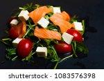 salad greens  salmon  tomatoes... | Shutterstock . vector #1083576398