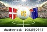 denmark vs australia. soccer... | Shutterstock . vector #1083590945