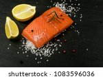 slice of salmon fillet. thick... | Shutterstock . vector #1083596036
