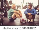 personal trainer and senior man ... | Shutterstock . vector #1083601052