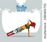 healthy habits woman | Shutterstock .eps vector #1083601742