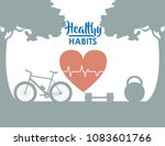 healthy habits concept | Shutterstock .eps vector #1083601766