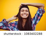 happy teenager portrait on... | Shutterstock . vector #1083602288