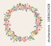 colorful flower wreath   spring ... | Shutterstock .eps vector #1083612428