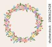 colorful flower wreath   spring ... | Shutterstock .eps vector #1083612428