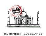 taj mahal. agra  india city... | Shutterstock .eps vector #1083614438