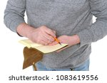 man writes in a vintage notepad ... | Shutterstock . vector #1083619556