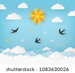 sun  clouds  birds  and... | Shutterstock .eps vector #1083630026