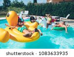 group of friends having fun in... | Shutterstock . vector #1083633935