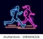 a man and women running   neon... | Shutterstock .eps vector #1083646226