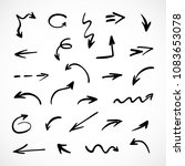 hand drawn arrows  vector set | Shutterstock .eps vector #1083653078
